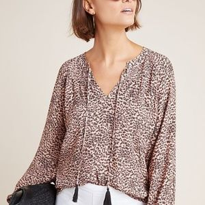anthropologie Kachel Leopard-Printed Blouse